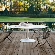 Modern outdoor furniture cheap Teal Knoll Saarinen Outdoor Pedestal Dining Table Homedit Midcentury Modern Indooroutdoor Furniture For California Living