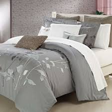 grey queen duvet cover with leaves printed for bedroom decoration ideas