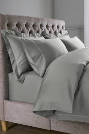 next 600 thread count cotton sateen collection luxe duvet cover and pillowcase set grey