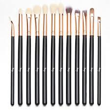 qivange eye brush set cosmetics eyeliner eyeshadow blending brushes 12pcs black with rose
