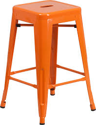 outdoor counter height stools. 24\u201d High Backless Orange Metal Indoor-Outdoor Counter Height Stool With Square Seat Outdoor Stools