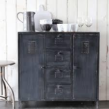 Light industrial locker style cabinet and light industrial sideboard in  black metal, from Rockett St