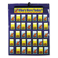 Attendance Multiuse Pocket Chart 35 Pockets Two Sided Cards Blue 30 X 37 1 2