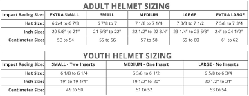 Youth Size 8 20 Chart Impact Helmet Size Chart