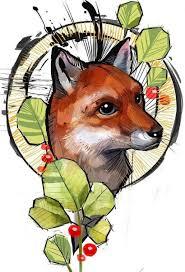 эскиз тату лисы с листьями идея тату 19