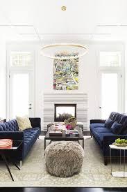 Modern blue couch Living Room Ann Lowengart Interiors Modern Living Room Blue Velvet Sofas And Quartzlined Chandelier Pinterest Home Tour Colorful Modern House In Norcal Living Rooms Living