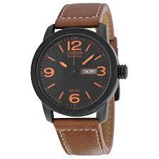 men s watches luxury fashion casual dress and sport watches citizen eco drive black dial brown leather men s watch