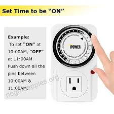 Set Timer For 15 Ipower 24 Hour Plug In Mechanical Electric Outlet Timer 15 Minute