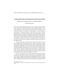 Pdf Evolving Dynamics Of Federalism And Foreign Policy