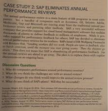 Microsoft Performance Reviews Solved Case Study 2 Sap Eliminates Annual Performance Re