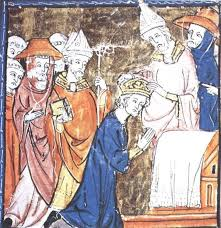 best charlemagne holy r empire images holy  charlemagne crowned by pope leo this illumination from a medieval mansucript shows charles kneeling and leo
