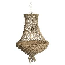 lifestyle traders natural jute and wood basket chandelier