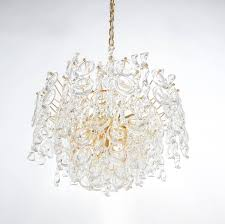 refurbished tendril ribbon glass and gold chandelier lamp by palwa 1960 in excellent condition for