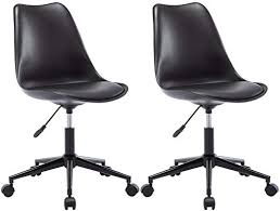 Festnight 2 Pcs <b>Swivel</b> Dining Chairs <b>Black Artificial Leather</b> Kitchen ...
