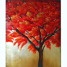 china customizing beautiful scenery canvas art newest handmade red tree painting lh 011000 china home decoration red tree picture