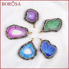 borosa rainbow stone druzy geode slice pendant druzy jewelry free form natural stone pendant hand