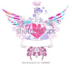 Abstract Mix Heart Lilia Cross Stock Illustration 165990941