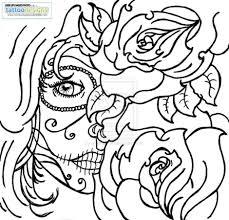 Sugar Skull Rose Tattoo Coloring Pages | skull coloring/ Dia de ...