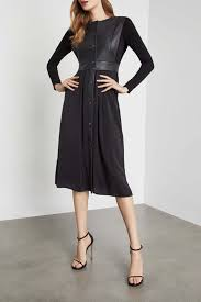bcbgmaxazria faux leather vest dress