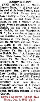 Hyde Co., N.C. Obituaries - Mc - Me