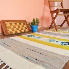 handwoven wool rug area rug floor rug kilim rug home decor rug brown white and yellow stripes with blue ornaments stylish wool rug