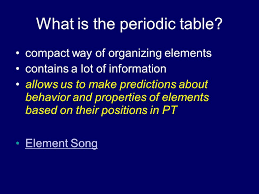 What is the periodic table? compact way of organizing elements ...