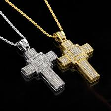 new hip hop men s diamond cross pendant necklace whole icedout iced out gold chain iced chain silver stud earrings mens gold plated chains evil eye