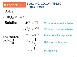 log to exponential form 4 3 logarithmic functions logarithms logarithmic equations