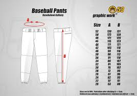 Baseball Pants Size Chart Jersey53 Baseball Pant Regular