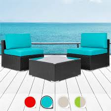 Amazon com walsunny 3pcs patio outdoor furniture sets all weather rattan sectional sofa with tea tablewashable couch cushions black rattan khaki