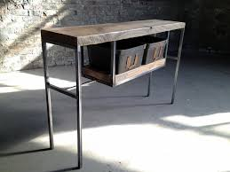 black iron furniture. Entry Table With Reclaimed White Oak And Vintage Bin Baskets Black Iron Furniture Y