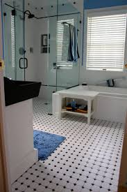 Classy Dotted Floor in Blue and White Small Bathroom Idea, Blue ...