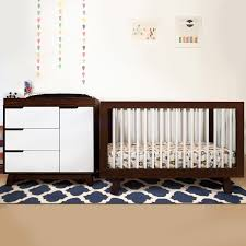 babyletto 2 piece nursery set hudson 3 in 1 convertible crib and hudson changer dresser in two tone espresso and white 4