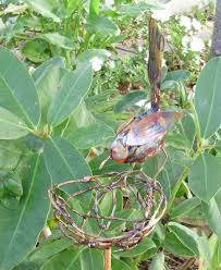 copper garden art. Copper Bird On Nest Garden Art .