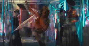 this future looks familiar watching blade runner in com she runs and then he corners her again and then he shoots her he shoots her in the back while she s running away from him running from death so