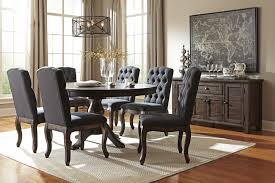 Round dining table for 6 Modern Glass Trudell Golden Brown Round Dining Room Table Uph Side Chairs Dining Room Groups Texas Discount Furniture Texas Discount Furniture Trudell Golden Brown Round Dining Room Table Uph Side Chairs