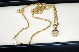 chopard happy diamonds heart necklace with pendant 18 kt gold 0 05 ct diamond