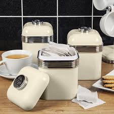 Purple Kitchen Canister Sets Swan Products Retro Canisters Set Of 3 Cream Amazoncouk