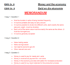 Gr. 8 EMS – Money and the economy. Worksheet / Class test – Teacha!