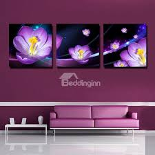 51 purple 3d flowers print 3 piece cross film wall art prints on flower wall art prints with purple 3d flowers print 3 piece cross film wall art prints