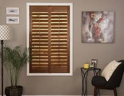 Attractive Wood Shutter In The Color Option Pecan With The Inside L Frame
