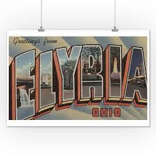Elyria Ohio Large Letter Scenes 12x18 Art Print Wall Decor Travel Poster