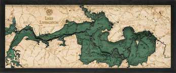 Lake Livingston Wood Carved Topographic Depth Chart Map