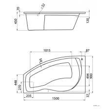 <b>Акриловая</b> угловая <b>ванна santek майорка</b> 150х90 (<b>сантек</b> 150 на ...