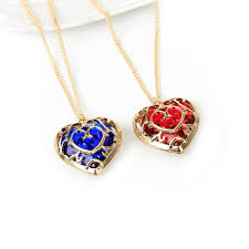 details about gold plated zelda heart container necklace set cosplay red blue two necklaces