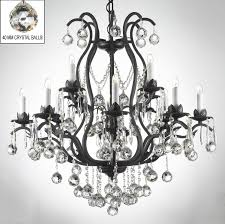 black crystal chandelier lighting. swarovski crystal trimmed chandelier wrought iron chandeliers lighting dressed w balls h36 black a