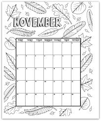November 2019 Coloring Page Printable Calendar Planning 2017 2019