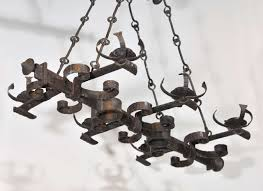 antique french hand forged six light iron chandelier in good condition for in