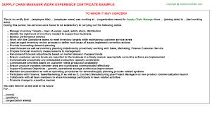 Supply Chain Manager Job Experience Letters