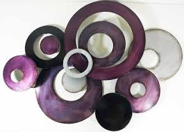 metal wall art purple linked circle